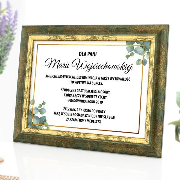 certyfikat w drewnianej ramce na prezent dla pracownika