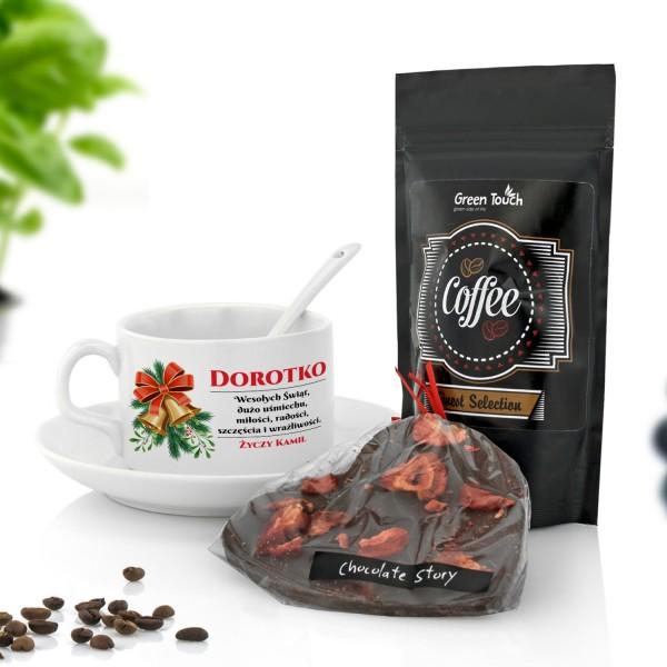 filiżanka z dedykacją, kawa i czekolada na prezent na święta dla niej