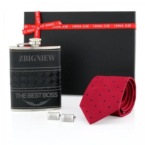 piersiówka, krawat i spinki z personalizacją na prezent dla szefa