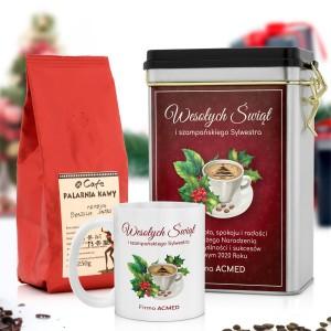 świąteczny zestaw prezentów puszka z kawą i kubek z nadrukiem