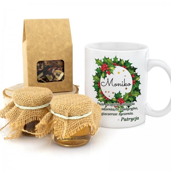 zestaw kubek z personalizacją, herbata i miody na prezent na święta dla niej