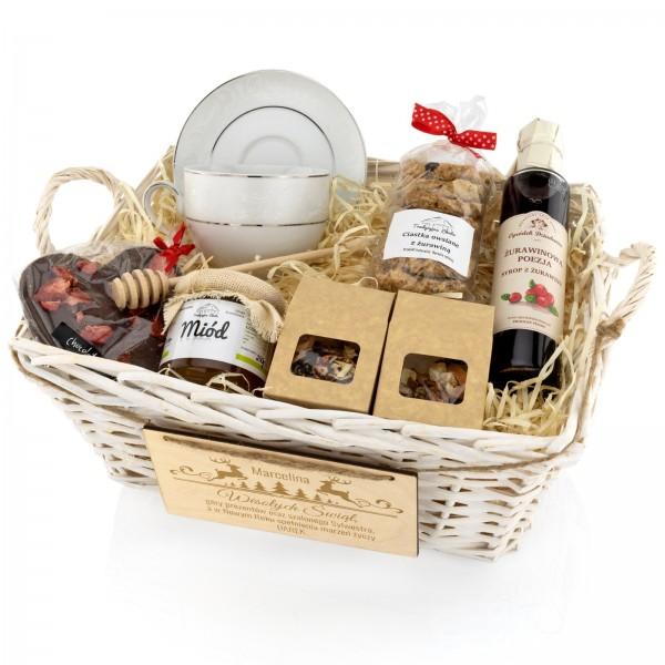 zestaw prezentowy filiżanka Ćmielów, herbata , miód i delicje - Słodki Kosz na prezent świąteczny dla niej