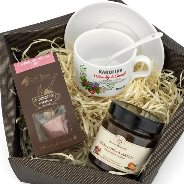 filiżanka z dedykacją, czekolada i konfitura to zestaw upominkowy na święta - Radości Czas na prezent dla niej