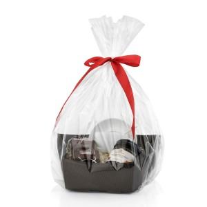 elegancko zapakowany zestaw upominkowy na święta - Radości Czas - filiżanka, czekolada i konfitura na prezent dla niej