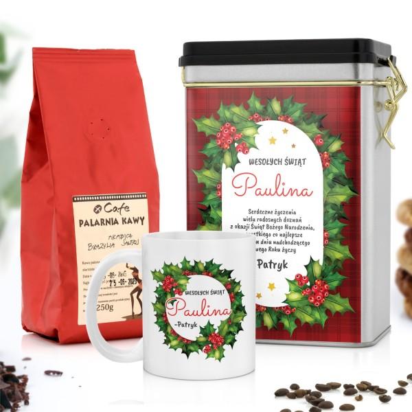 świąteczny zestaw upominkowy kubek puszka na kawę i kawa ziarnista