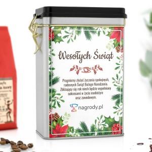 puszką na kawę ze świąteczną dedykacją