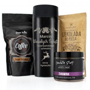 na upominek dla niego kawa, kubek termiczny z grawerem i pitna czekolada z zestawu - Aromatyczne Święta
