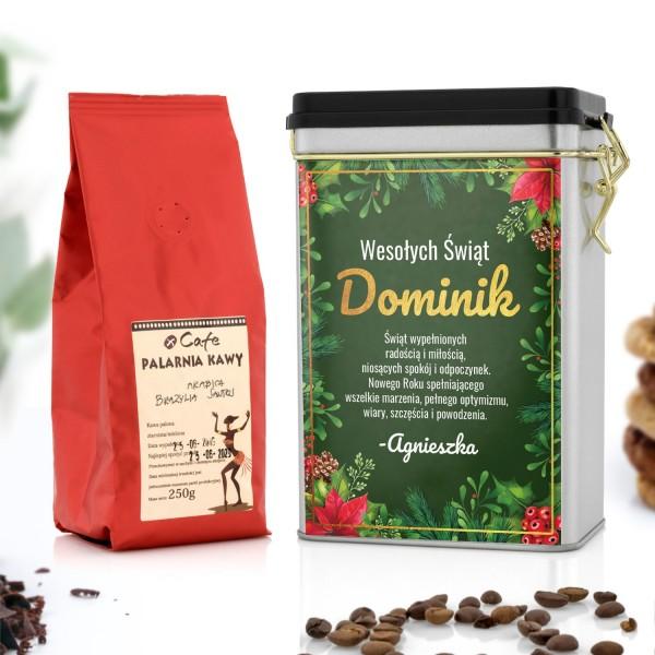 kawa ziarnista arabika i puszka na kawę z dedykacją świąteczną
