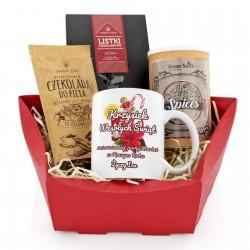 kubek, herbata i czekolady w zestawie świątecznym - Domowa Chwila na prezent dla niego