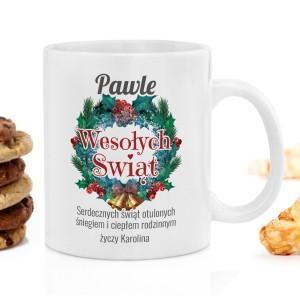 kubek z nadrukiem z zestawu do herbaty na prezent świąteczny - Dzwonki  na upominek dla niego