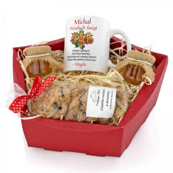 na prezent dla niego zestaw kubek, miody i ciastka -Tradycja Świąteczna
