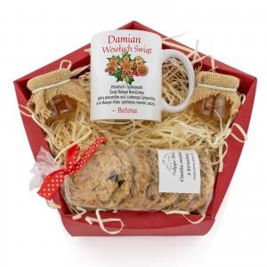 wyjątkowy zestaw słodkości, kubek, miody i ciastka - Tradycja Świąteczna  na upominek dla niego