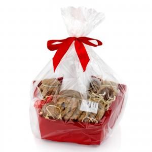 w opakowaniu prezentowym zestaw kubek, miody i herbata -  Świąteczna  na upominek dla niego