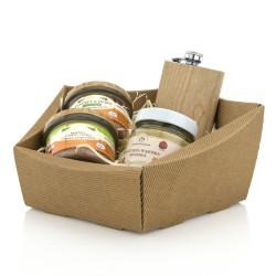 świąteczny zestaw delikatesowy z piersiówką - Wytrawna Chwila w pudełku na prezent dla niego