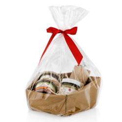 na prezent dla dziadka świąteczny zestaw delikatesowy z piersiówką - Wytrawna Chwila w opakowaniu z celofanu