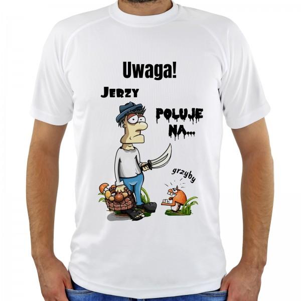 koszulka z nadrukiem - tropiciel Grzybów na upominek dla grzybiarza