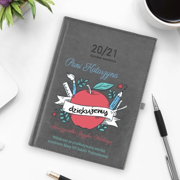 kalendarz nauczyciela 2020/2021 z nadrukiem - Siłaczka na prezent dla nauczyciela polskiego