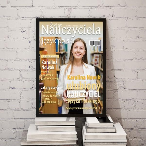 na prezent dla nauczycielki okładka magazynu z przesłanym zdjęciem polonistki