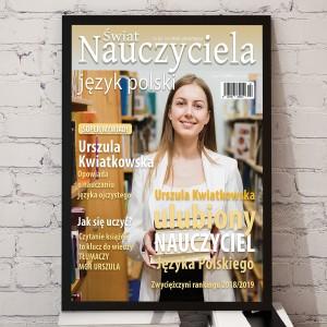 okładka magazynu z przesłanym zdjęciem polonistki na prezent dla pani od polskiego