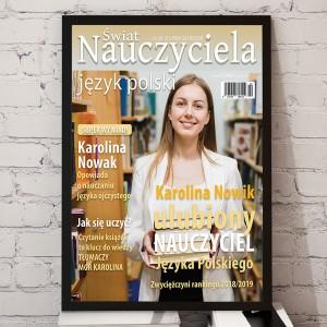 na prezent dla nauczycielki języka polskiego okładka magazynu z przesłanym zdjęciem polonistki