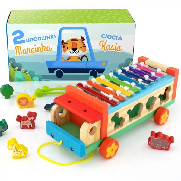 na upominek dla dziecka samochód cymbałki z sorterem - Muzyczne Zoo