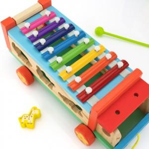 prezent z okazji chrztu dla dziecka samochód cymbałki z sorterem - Muzyczne Zoo