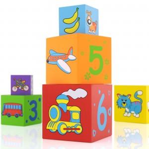 klocki z grawerem na prezent dla dziecka - Piramida na prezent na roczek dla dziecka