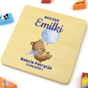 na prezent na roczek personalizowane klocki logiczne z nadrukiem dla dziecka - Misiaczek z