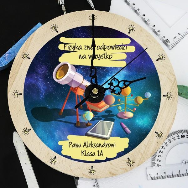 prezent na Dzień Nauczyciela zegar z grawerem dla fizyka - Teleskop