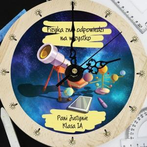 prezent na podziękowania dla nauczyciela zegar z grawerem dla fizyka - Teleskop
