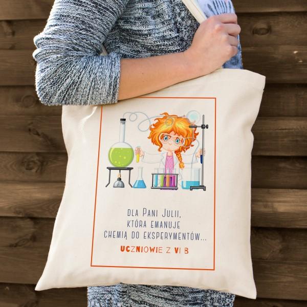 torba bawełniana z kolorowym nadrukiem na prezent dla nauczycielki chemii