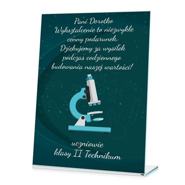 okolicznościowa statuetka z nadrukiem na prezent dla nauczyciela chemii