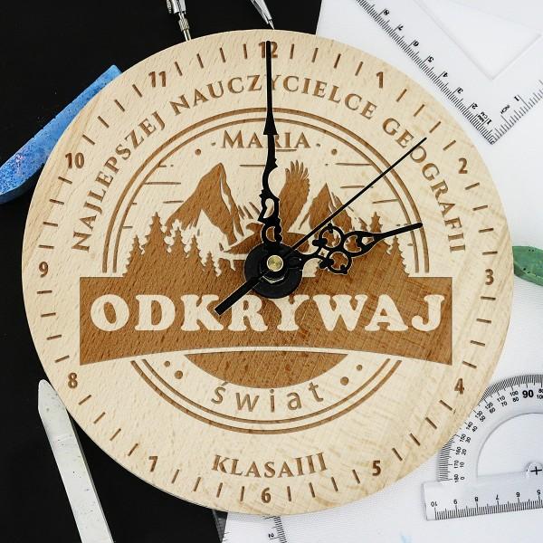 zegar z grawerem dla geografa - Droga na Szczyt na prezent na Dzień Nauczyciela