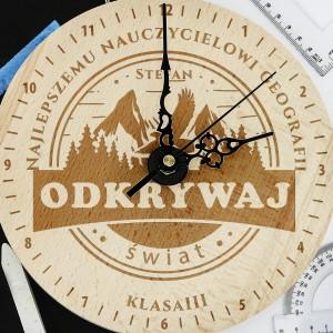 Zegar z grawerem dla geografa - Droga na Szczyt na prezent na podziękowania dla nauczycieli
