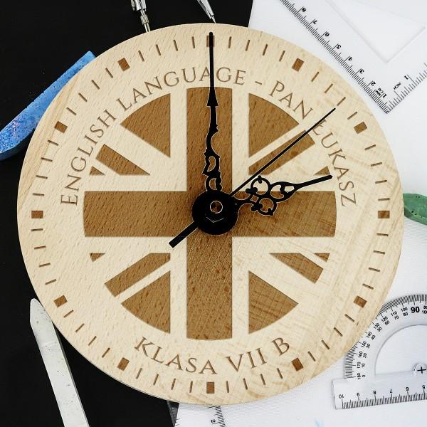 zegar drewniany na prezent dla nauczyciela z dowolnym grawerem