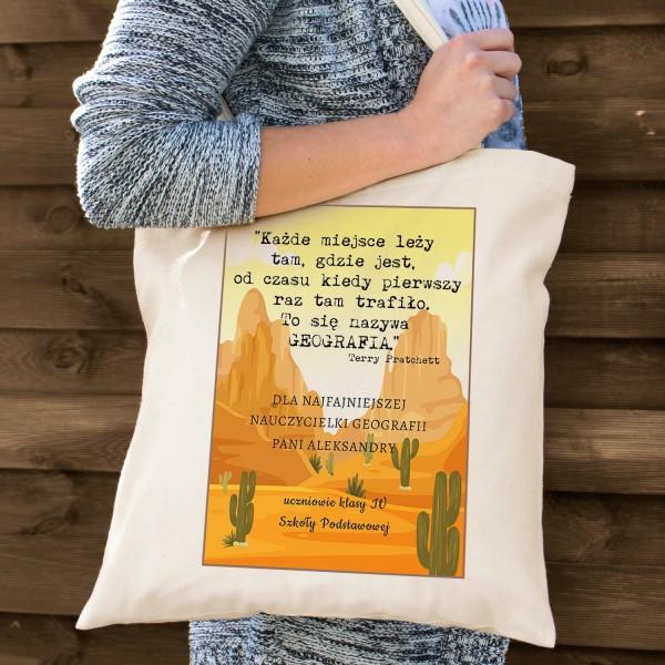 na prezent na Dzień Nauczyciela torba bawełniana dla geografa - Świat Dysku