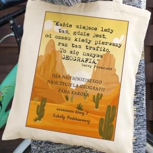na prezent na zakończenie roku torba bawełniana dla geografa - Świat Dysku