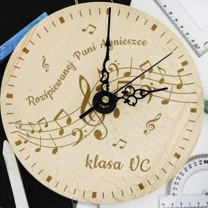 na prezent na zakończenie roku zegar z grawerem dla muzyka - Wesoła Nuta