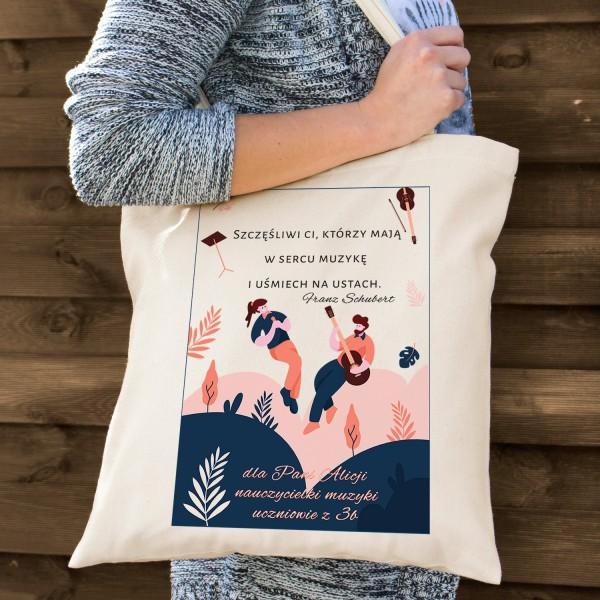 prezent na zakończenie roku szkolnego torba bawełniana dla nauczyciela muzyki - W Duecie