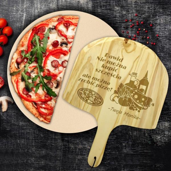 na prezent na dzień chłopaka kamień do pizzy z deską z grawerem - Felicita
