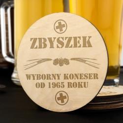 podkładki pod piwo z grawerem - Koneser na prezent dla narzeczonego