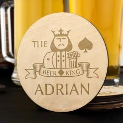 podkładki pod piwo z grawerem - King of Beer na prezent dla narzeczonego