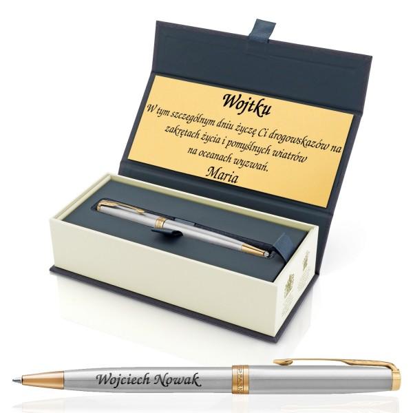 długopis z grawerem w pudełku z dedykacją