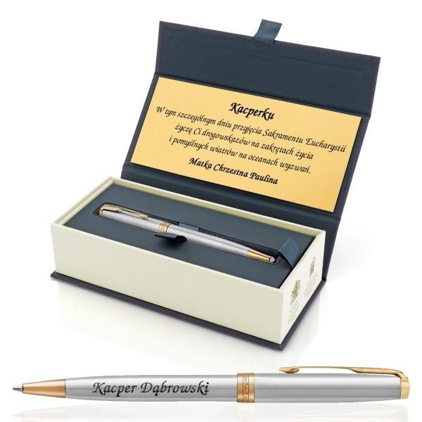 długopis na komunię w pudełku z grawerem
