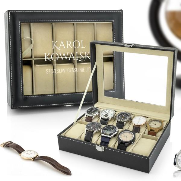 na prezent dla męża szkatułka etui na zegarki - Szczęściarz