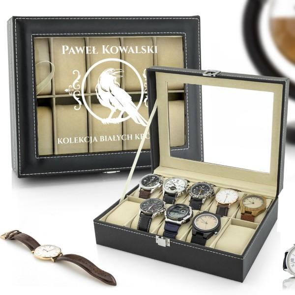 na prezent dla ukochanego szkatułka etui na zegarki - Biały Kruk