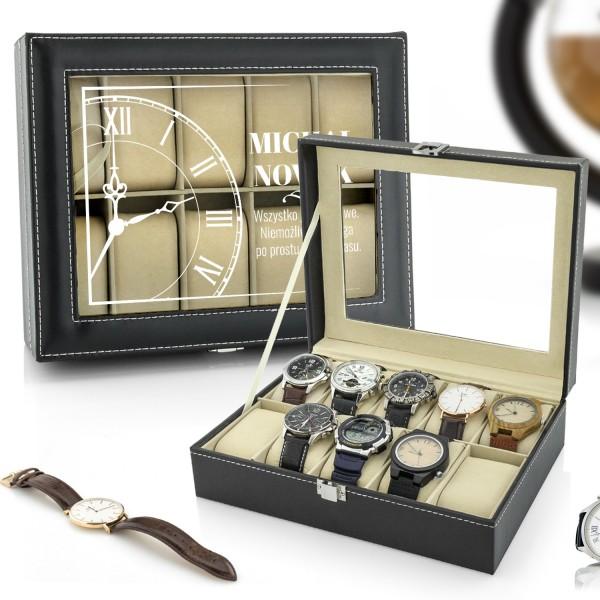 na prezent dla niego szkatułka etui na zegarki - Śpiesz się Powoli