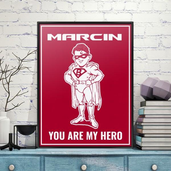 na prezent na dzień chłopaka plakat w ramce z dedykacją - My Hero