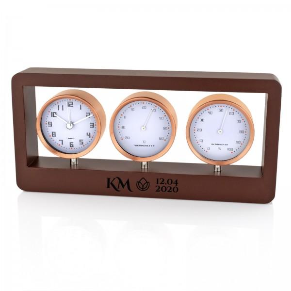 na prezent dla biznesmena stacja pogody - budzik, termometr, higrometr z opcją graweru