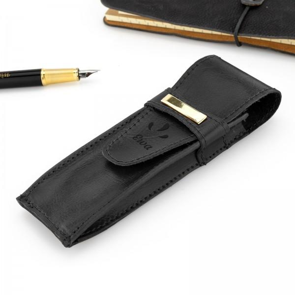 na prezent dla nauczyciela czarne etui na długopis i pióro z grawerem